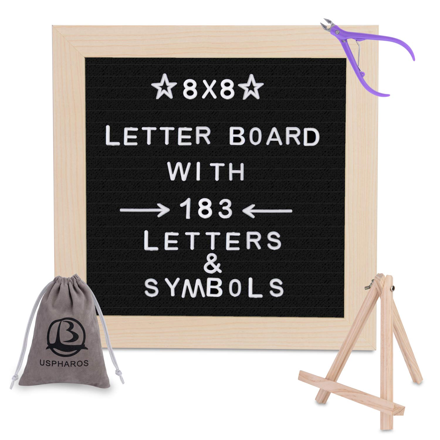 Letter Board 8x8 | +183 Letters ,Numbers,Symbols and Emojis +Sorting Tray | (Black) Felt Letter Board, Word Board, Message Board, Letter Sign Zhejiang Pharos Industrial and Trading Co.Ltd