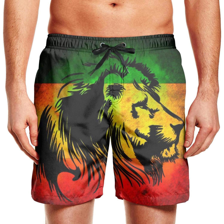 chchht Mens Swim Board Shorts Lion Quick Dry Side Pockets Beach Wear Shorts Athletic