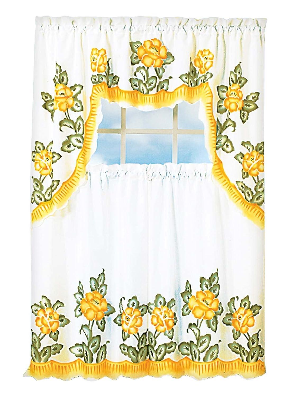 Vera Neumann Oralie Floral Trellis Printed Kitchen Tier /& Valance Set Small Window Curtain for Cafe Bedroom Black Laundry Bath