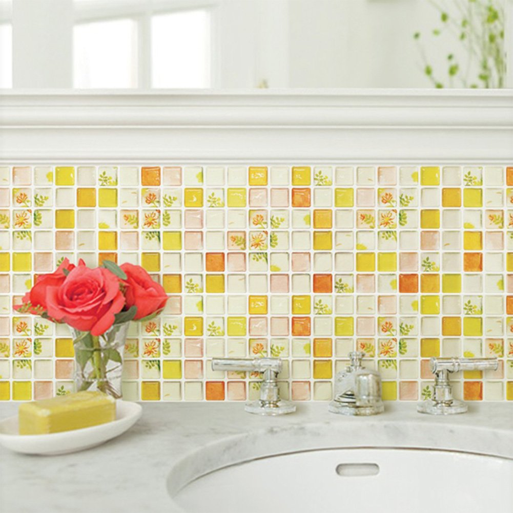 Beaustile Yellow Mosaic 3D Wall Stickers 4 Sheets Bathroom Home Decor Backsplash Wallpaper Tile Art Fire Retardant Kitchen