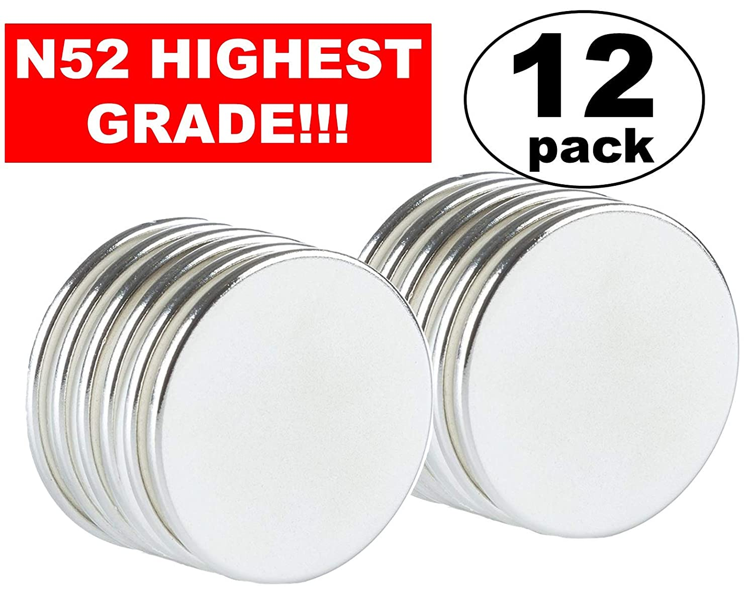 "Strong Magnets Neodymium Rare Earth: N52 Disc Super Permanent Metal Round, 1.26""DX0.06""H, Powerful Pull Force, 12 Piece 