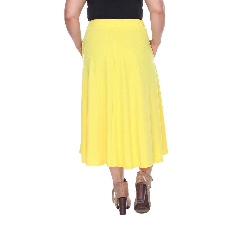 a813b6949a1 White Mark Women s Plus Size Tasmin Flare Midi Skirt 1XL Yellow  Amazon.ca   Clothing   Accessories