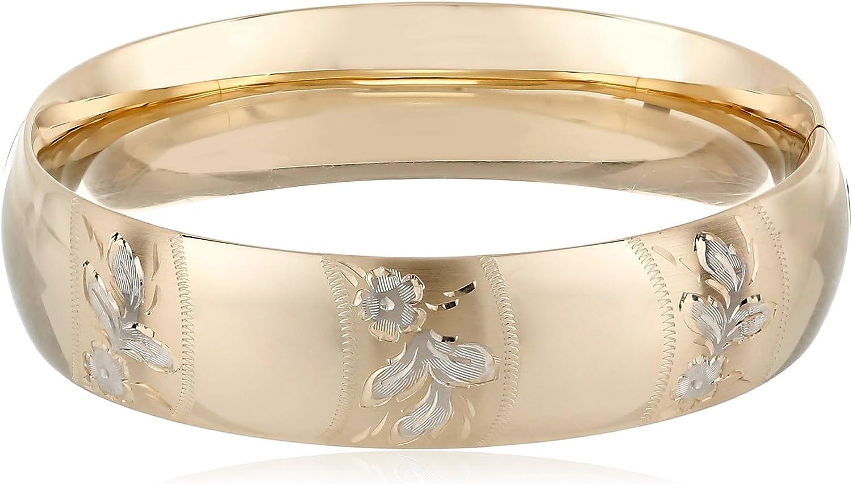 14k Yellow Gold Engraveable Cuff Bangle Bracelet