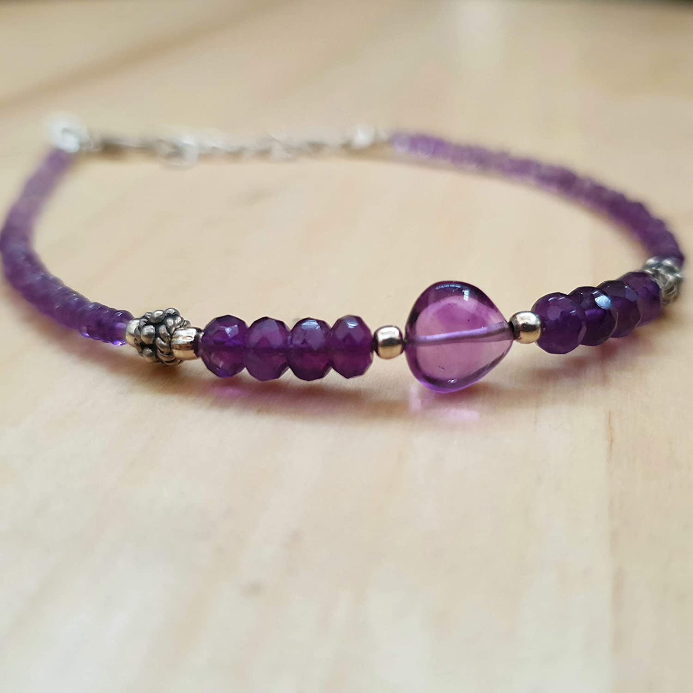 Amethyst Heart Roundel Beads Bracelet with Sterling Silver Findings 6.50 Gemstone Jewelry