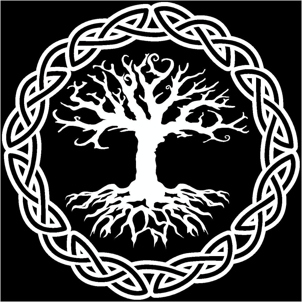 Samunshi Aufkleber Yggdrasil Mit Knoten A Vikings Wikinger Für Auto Motorrad In 11 Größen Und 25 Farben 10x10cm Weiß Küche Haushalt