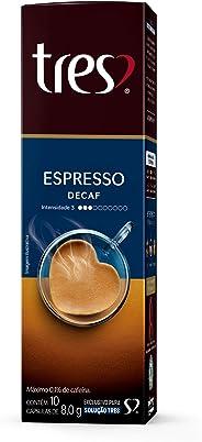 Cápsula de Café Espresso Descafeinado Três, Compatível com Três, Contém 10 Cápsulas
