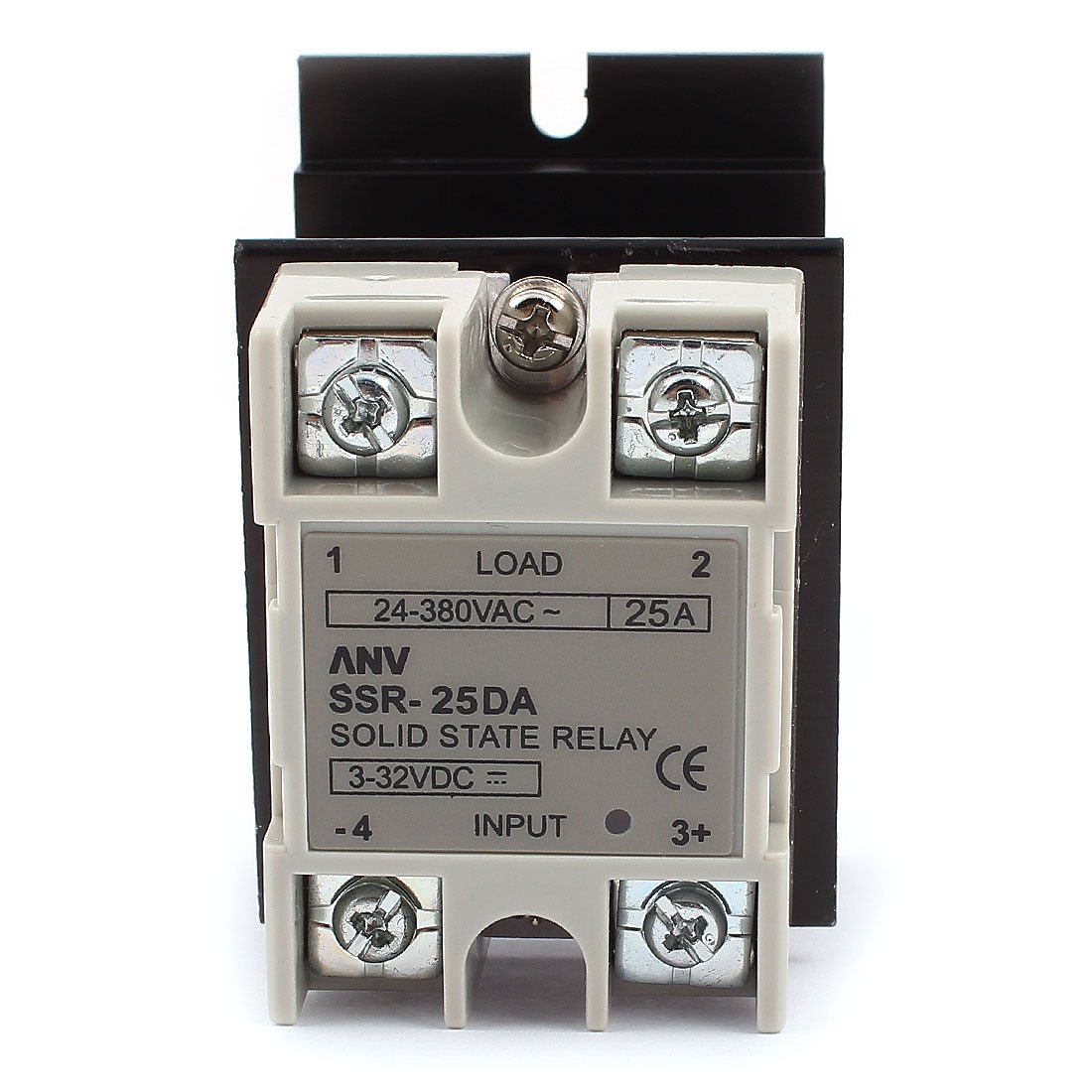 Uxcell a15111100ux0289 SSR-25DA Solid State Relay, DC-AC 25 Amp, 3-32V DC/24-380V AC, Heat Sink