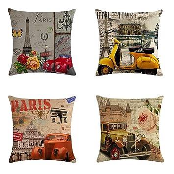 Brilliant Xieccx Throw Pillow Covers Decorative Pillowcases 4 Pack Soft Linen Cotton Design Cushion Cover For Sofa Bedroom Chair Car Seat Farmhouse 18 X Inzonedesignstudio Interior Chair Design Inzonedesignstudiocom