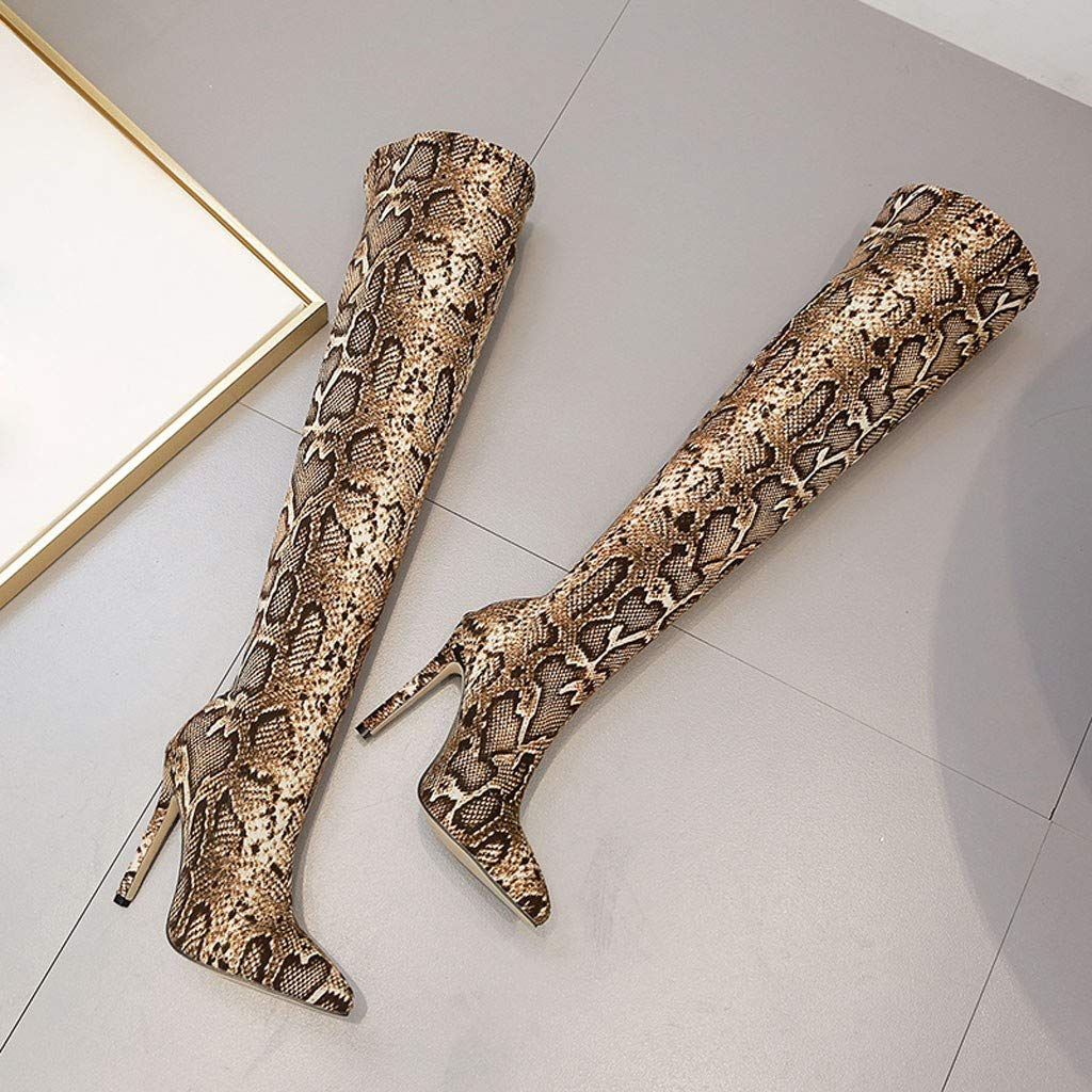 Over The Knee Boots for Women,Jchen Ladies Snakeskin Print Nightclub Boots Winter Stiletto High Heel Over The Knee Boots
