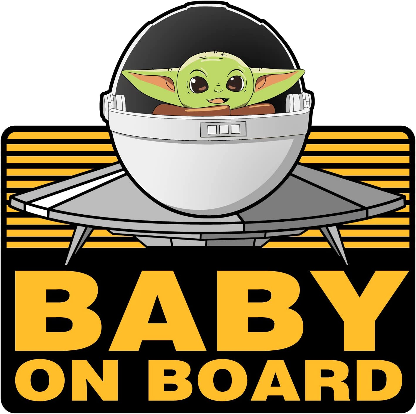 2 Pack Black Baby Yoda On Board Super Cute – Vinyl Decal Stickers for Laptop Car Bumper Window Decorations,Vivid Color and UV Fade Resistant