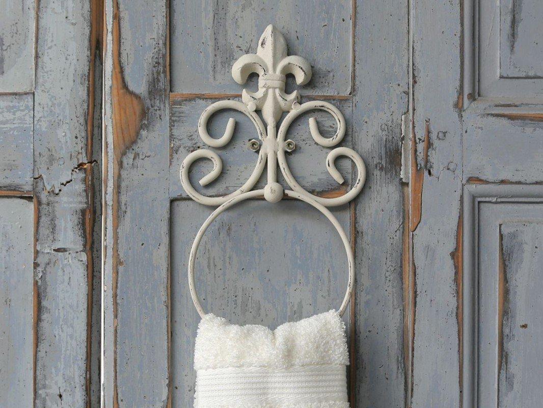 Handtuchhalter Handtuchring Metall antik- weiß im Shabby-Chic-Stil ...