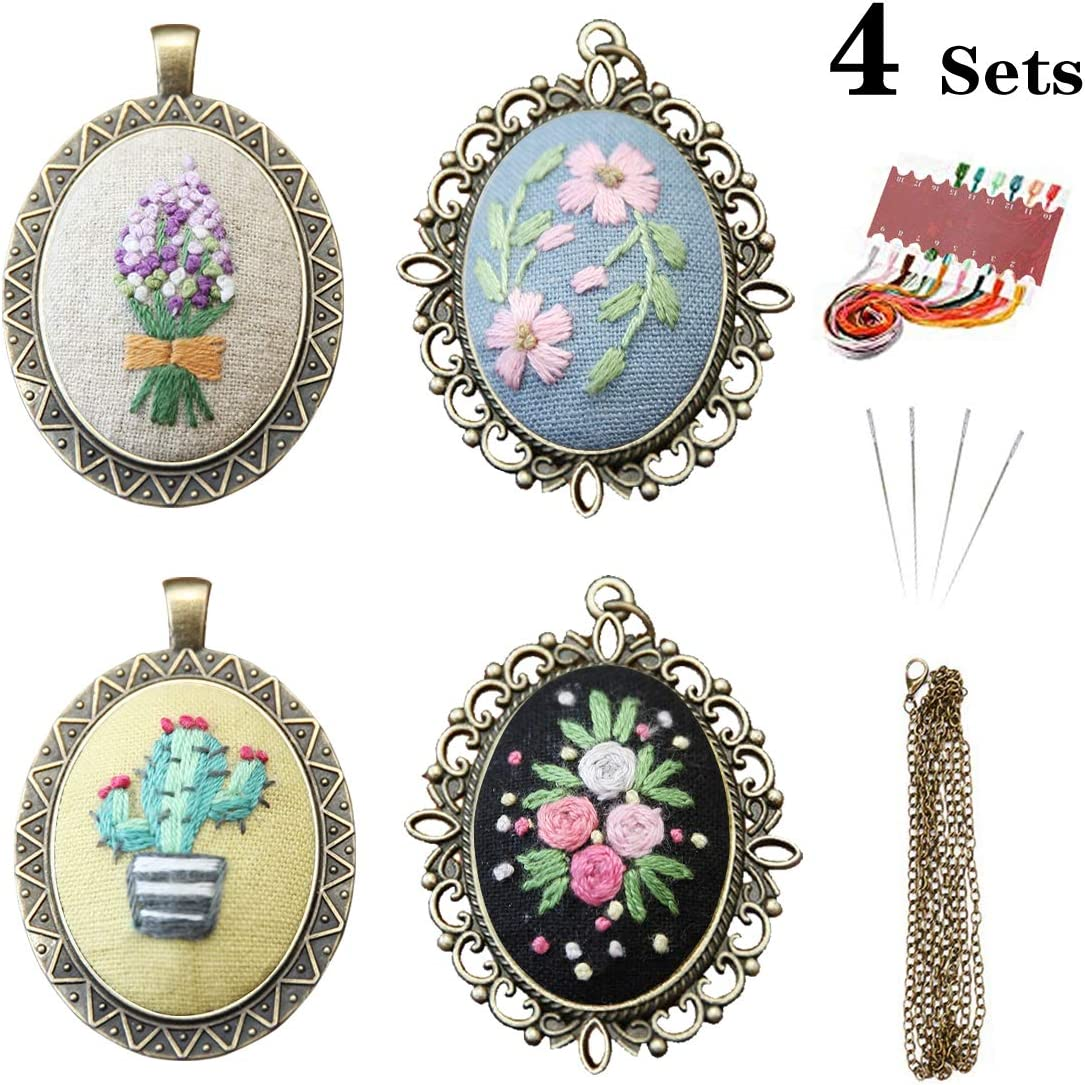 Set B Embroidery Hoop and Colour Threads Tools Kit for Embroidery Necklace /& Earrings /& Hand Sewing Jewelry /& Creative Gifts VEGCOO 4 Sets Embroidery Starter Kit with Pattern