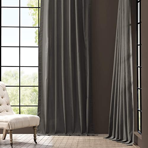 HPD Half Price Drapes PRCT-S04B-108 Solid Cotton Curtain 1 Panel , 50 X 108, Millstone Gray