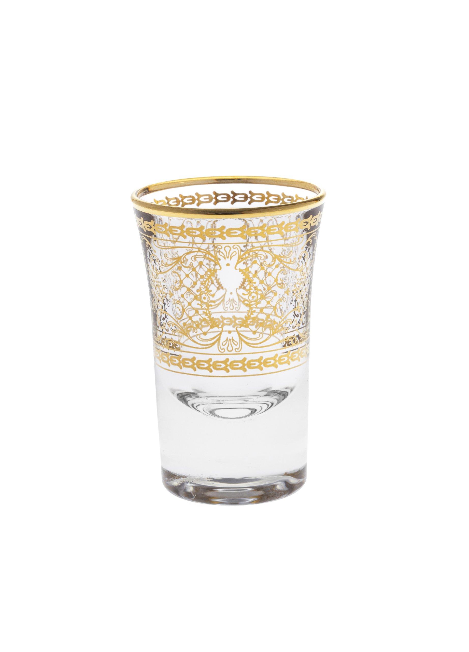 Rose's Glassware Fine Italian Liquor Cup Shotglass Set - 14 Karat GoldDesign - Set of 6 by Rose's Glassware (Image #2)