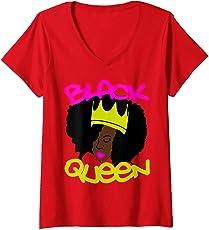 Womens Black Queen Beautiful Queen Afro Crown Black Pride Self Love V-Neck T-Shirt