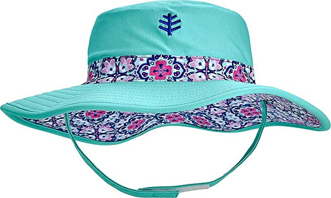 5f9bf36ef Coolibar UPF 50+ Baby Girls' Reversible Beach Bucket Hat - Sun Protective  (2T