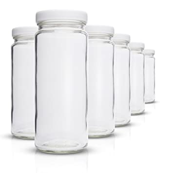 Cristal transparente botellas de agua – Juego de 6 unidades, boca ancha con a prueba