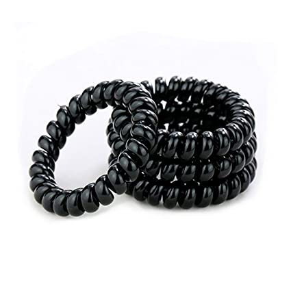 Amazon.com   Hair Ties - 20-Pack Black Telephone Cord Wire Hair Bands No  Damage Elastics Hair Ring Ponytail Holders for girls and woman   Beauty 1cf654453a2