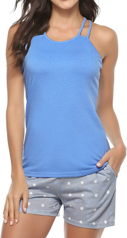 Hawiton Womens Cotton Short Sleeve Pajamas Set Dot Pattern Sleepwear Lounge PJ Nightwear