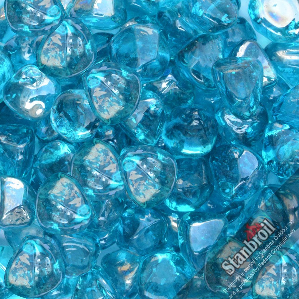 Stanbroil 10-pound 1/2 inch Fire Glass Diamonds for Fireplace Fire Pit, Caribbean Blue Luster
