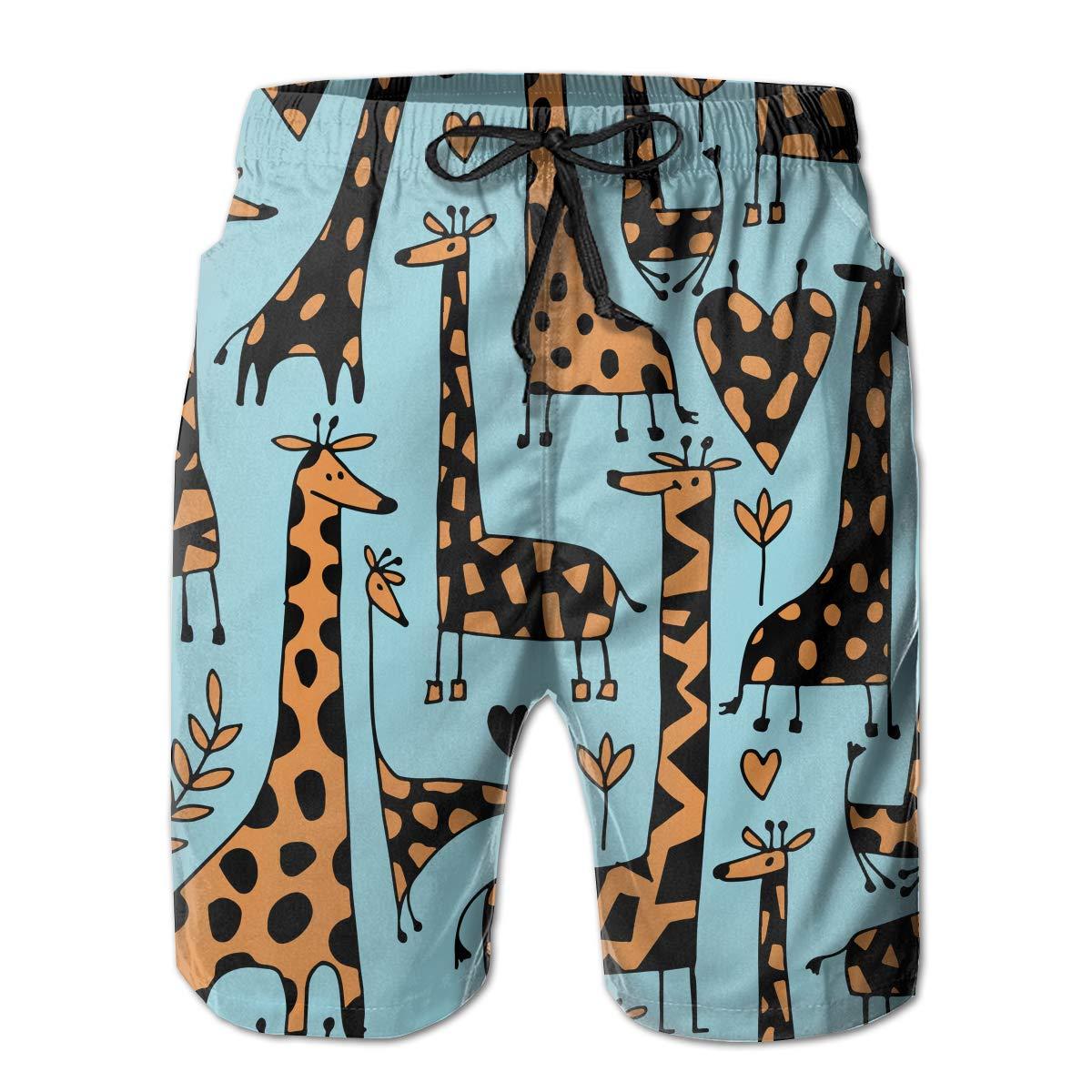 Boys Animals Giraffe Popular Quick Dry Swim Trunks Elastic Drawstring Cargo Shorts with Pocket