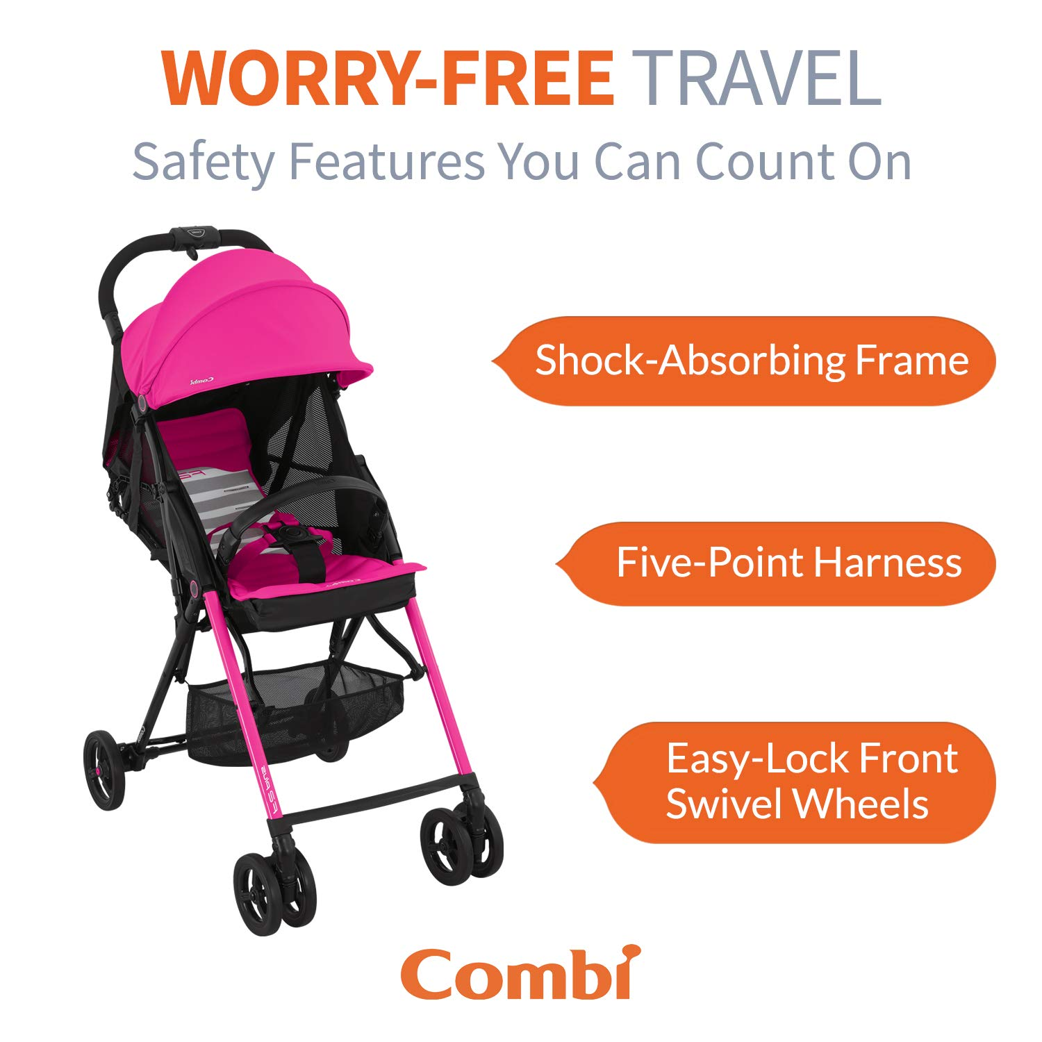 Baby One-Touch Harness w/Full Mesh Seating Easy Lock Wheels & XL ...