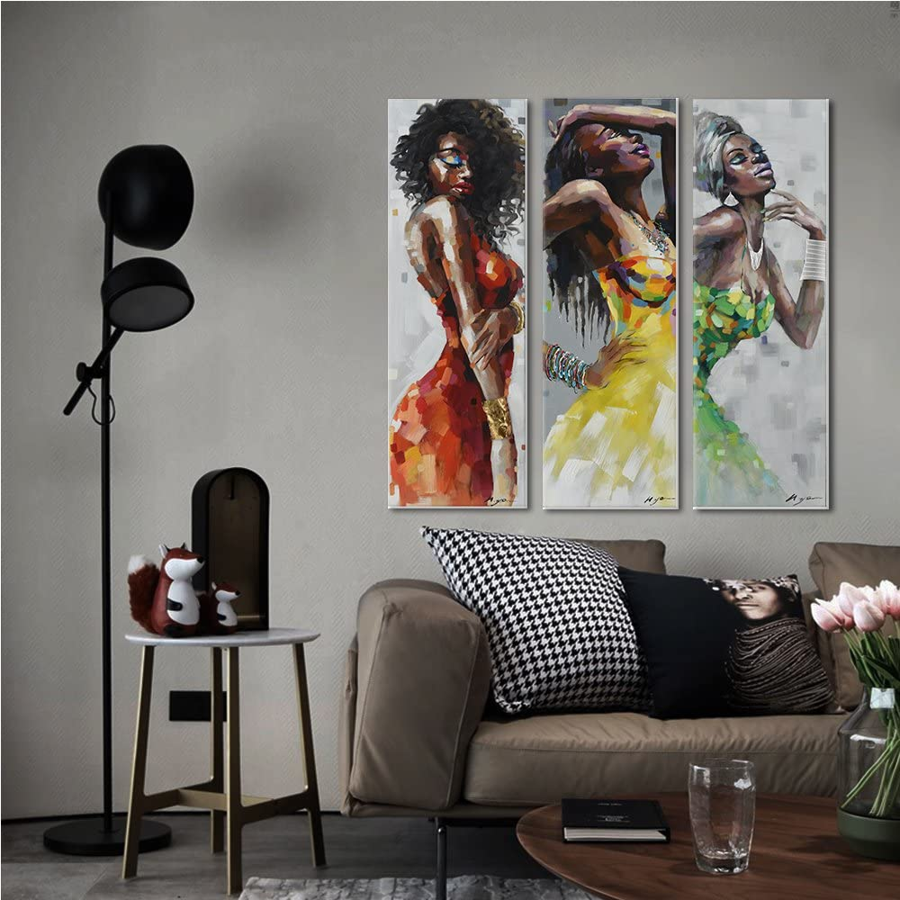 24 x 24 inch, R Crescent Art Framed African American Black Art Dancing Black Women in Dress Wall Art Painting on Canvas Pirnt Wall Picture for Home Accent Living Room Wall Decor