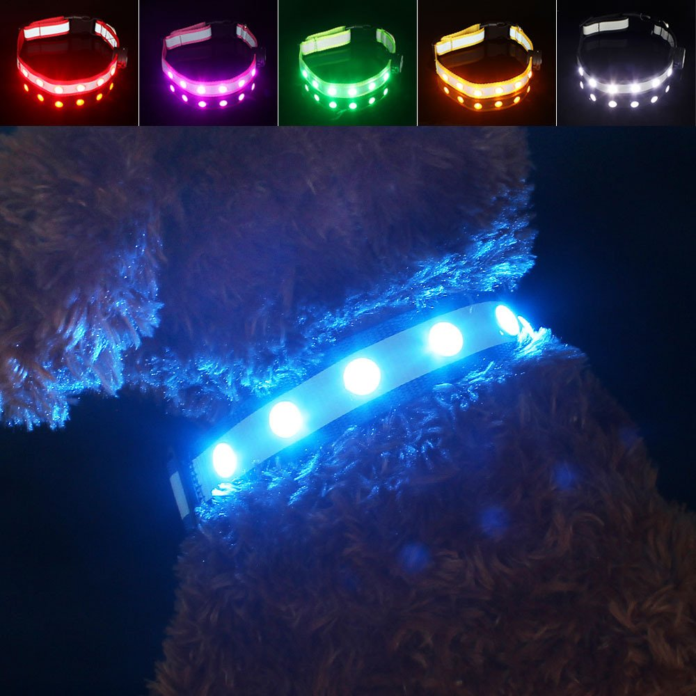 bluee (Rechargeable) M bluee (Rechargeable) M Pawow USB Rechargeable LED Reflective Dog Collar, Keep Your Dog Visible & Safe, Nylon Light-Up Night Safety Collar for Medium Dogs Adjustable Length 13.4-19.7 , Width 1 , bluee