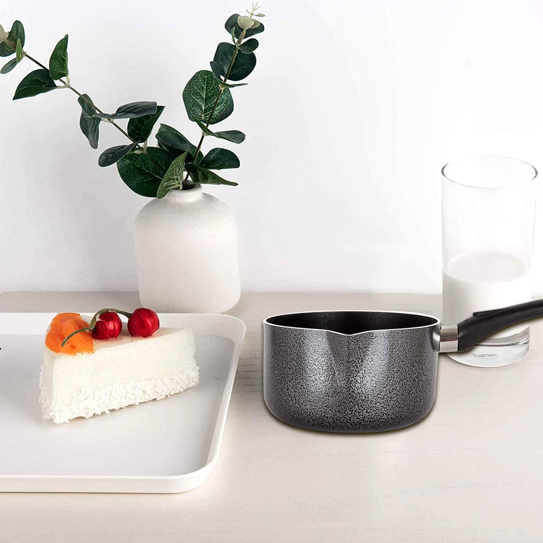 Soup Pan Baby Food Black, 18 cm Egg Pan Tea Pot Non Stick Milk Pan Coffee Pot Long Handle Saucepan Sauce Pots Porridge Pots Ideally Used As Tea Pots Boiling Water