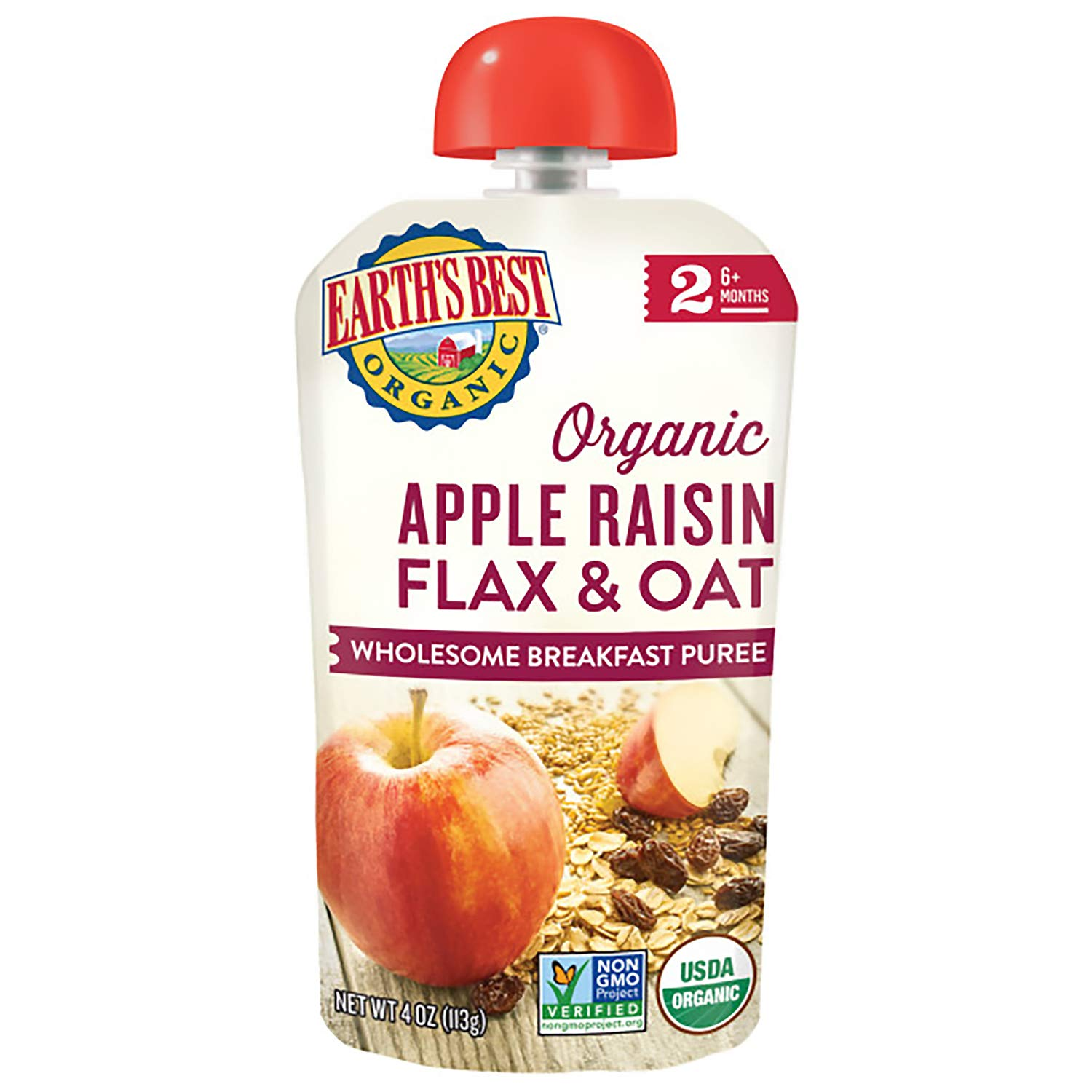 Earth's Best Organic Stage 2 Breakfast Baby Food, Apple Raisin Flax & Oat, 4 Oz Pouch (Pack of 12)