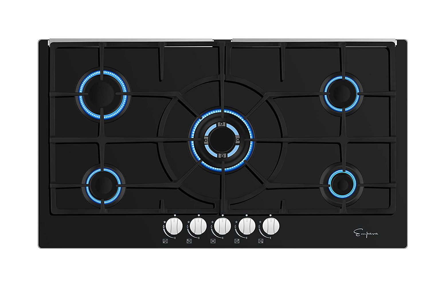 "Empava 36"" Black Tempered Glass 5 Italy Sabaf Burners Stove Top Gas Cooktop EMPV-36GC204"