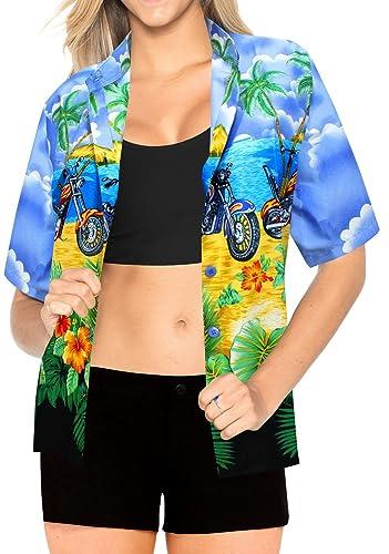 Ropa de Playa Bot�n de Arriba hacia Abajo Blusa encubren Hawaiano Camisa de Manga Corta de Las Se�or...