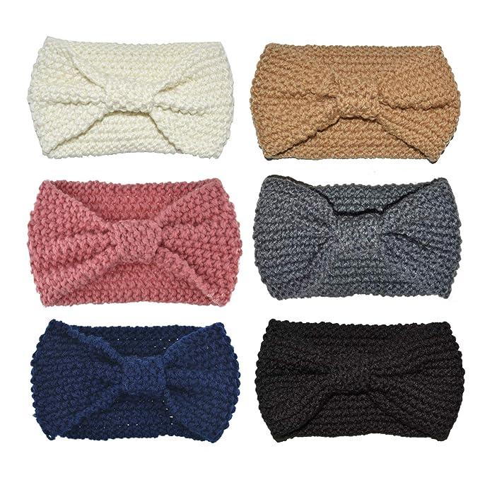 DRESHOW 6 Stück Damen Schleife Design Stirnband Winter Kopfband ...