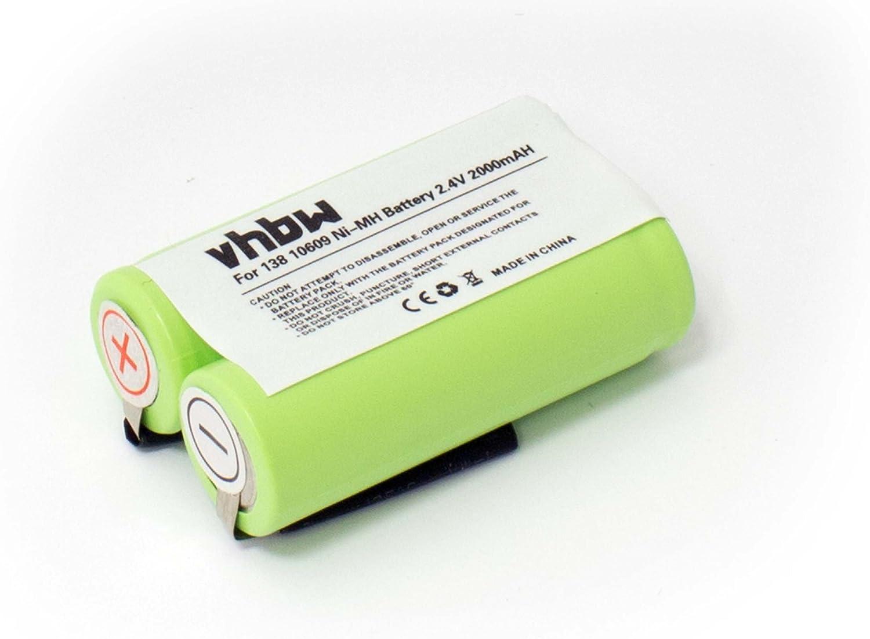 Batería para máquinas de afeitar 2000mAh (2,4V) para Norelco 6828XL y Philips Philishave H-Serie, z.B HQ4850, HQ6761, HS969. sustituye 138 10609