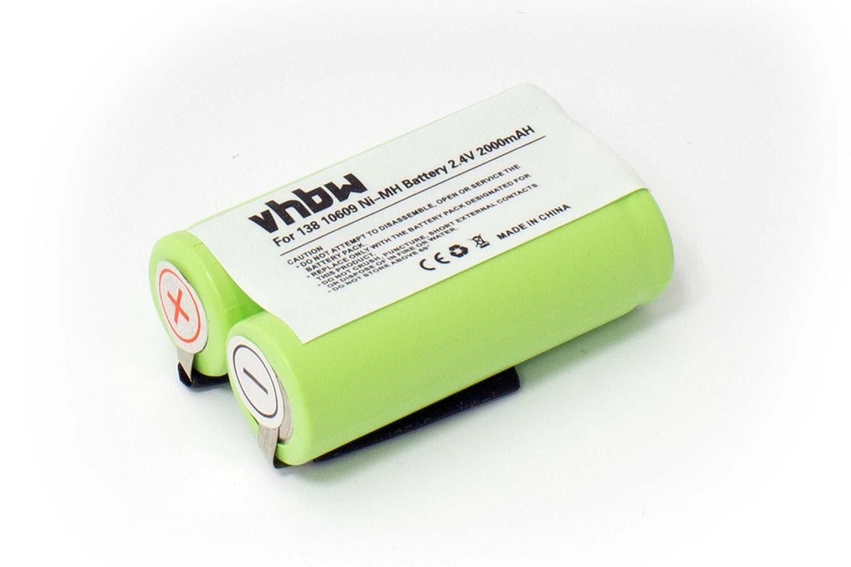 Batería NiMH 2000mAh (2.4V) Marca vhbw para afeitadoras y cepillos de Dientes Panasonic ER153, ER154 sustituye 138 10609. VHBW4251215374752