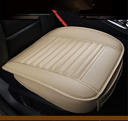 bamboo charcoal pu leather car seat covers auto seat cushion pad for car front seats,1 piece (bambrown)