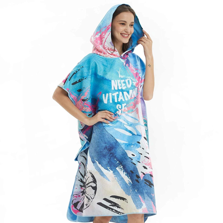 AYUE/® Poncho de Surf para Hombres y Mujeres para un Cambio F/ácil en P/úblico Toalla de Microfibra de Secado R/ápido para la Playa Parque Acu/ático Piscina Lago