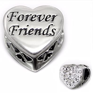 Kiss Me Sterling Silver CZ Crystal Charm Beads Fits Bracelets The Forever Friends Beads Xd3Ftzig