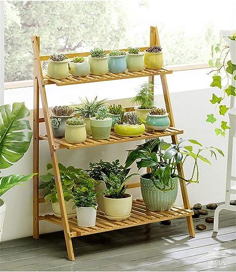 Escalera para Flores de Bambú 3 niveles Estante de exhibición plegable para el patio interior al aire libre patio césped jardín balcón titular,70cmwide: Amazon.es: Hogar
