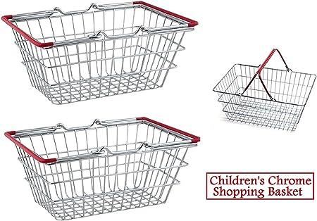 2 x Apollo Mini Chrome Children Shopping Trolley Kids Play Toy Storage Holder