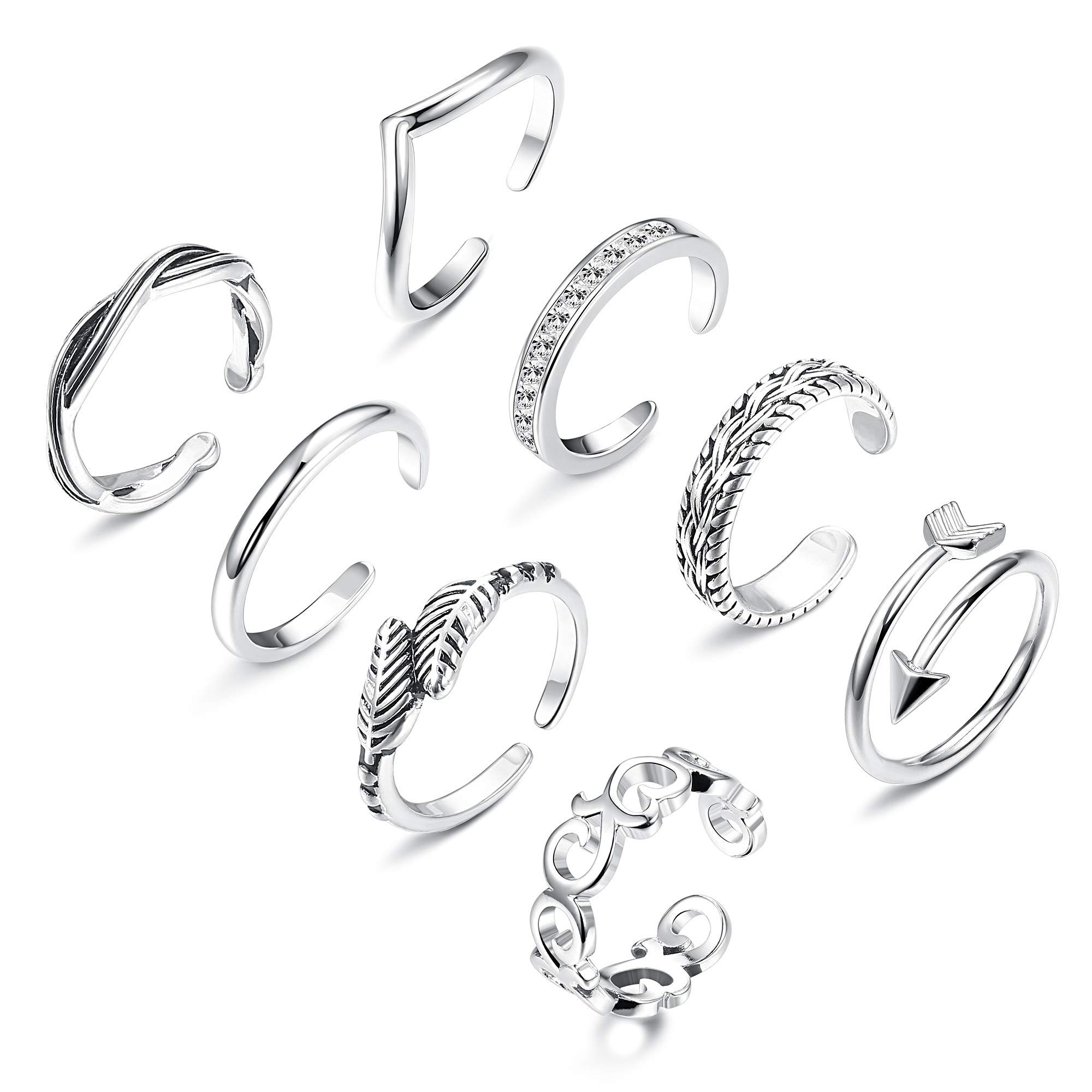 Finrezio 8Pcs Open Toe Rings for Women Girls Adjustable Tail Ring Flower Knot Simple Toe Ring Gifts Jewelry Set by Finrezio