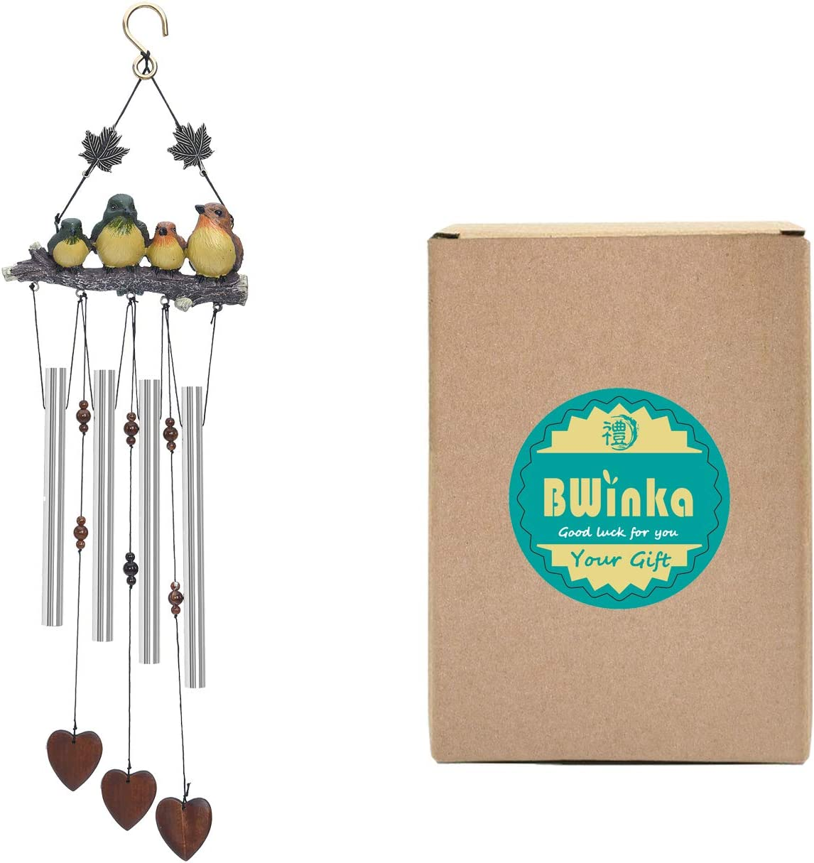 BWinka Vivid 4 Birds 4 Tubes Amazing Grace Wind Chimes Decoration for Garden Patio and Home Decor with Hook Yard