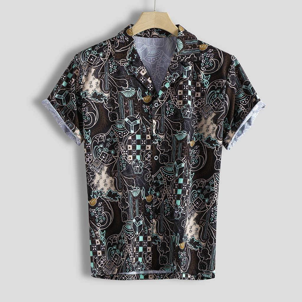 Domple Mens Summer Casual Short Sleeve Lapel Beach Button Up Shirt