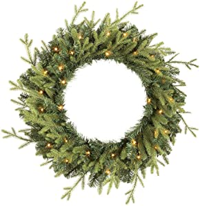 Home Accents Holiday 30 in Elegant Battery Operated Noble Fir LED Pre-Lit Artificial Wreath with Timer and 35 Micro Dot Lights