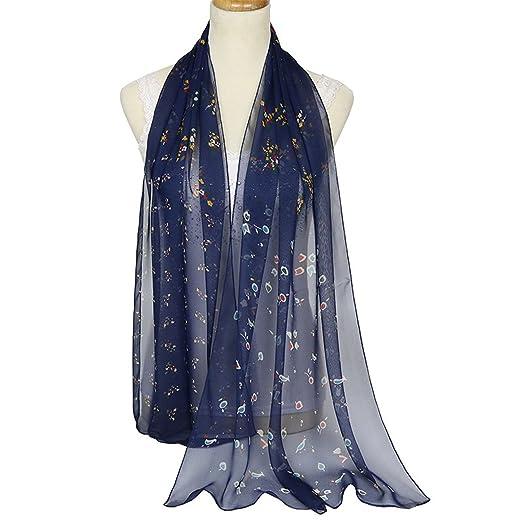 e8d1f62a8 New ultra-thin ladies silk scarf floral georgette scarf shawl scarf Silk  scarf,Navy