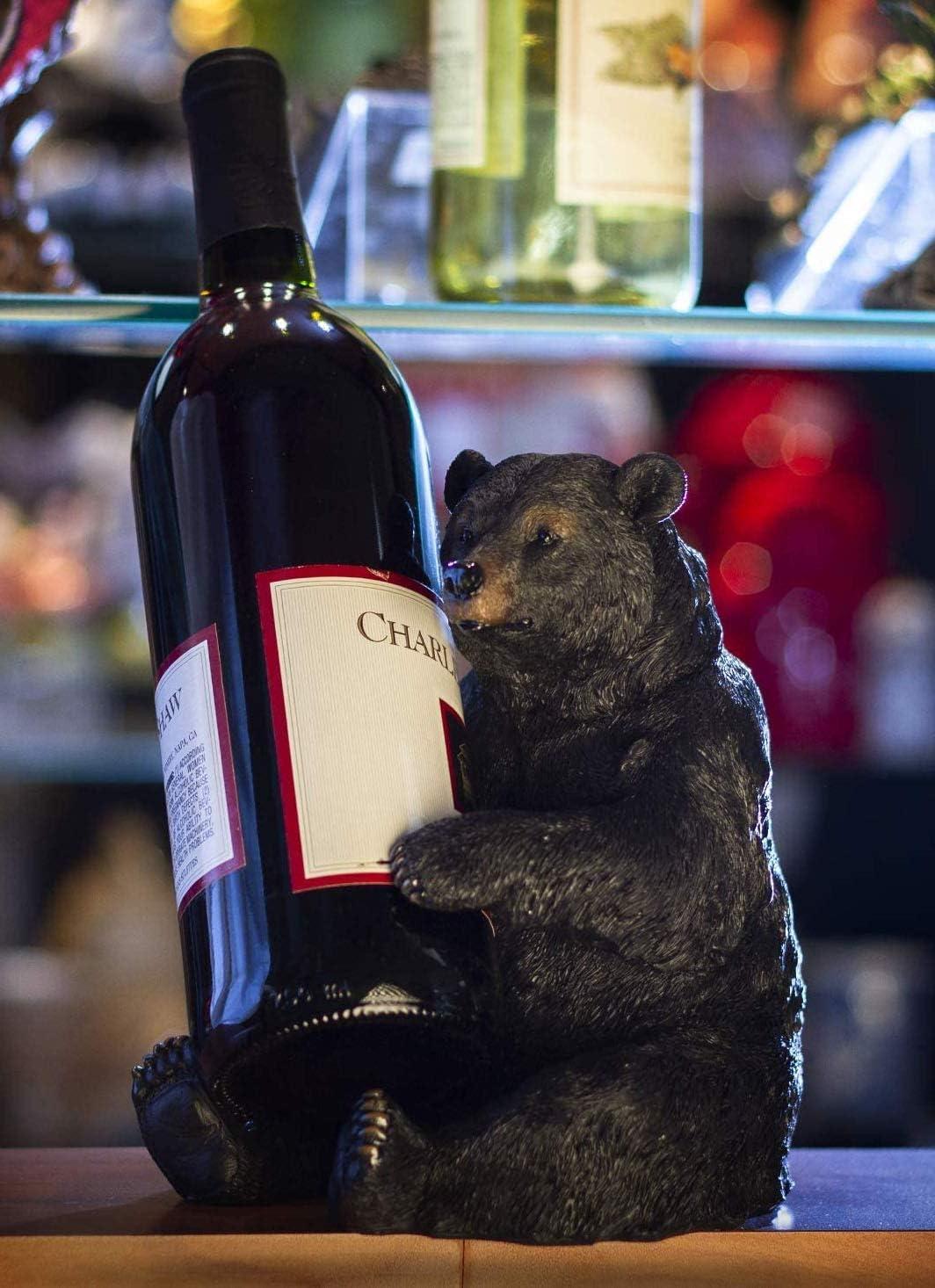 Ebros Rustic Cabin Lodge Decorative Sitting Black Bear Wine Bottle Holder Figurine 7.25