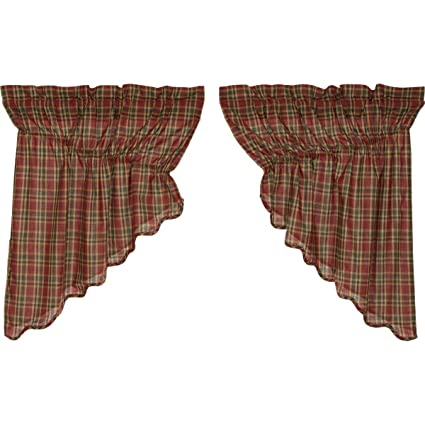 VHC Brands Graham Scalloped Prairie Swag Lined Set of 2 36x36x18