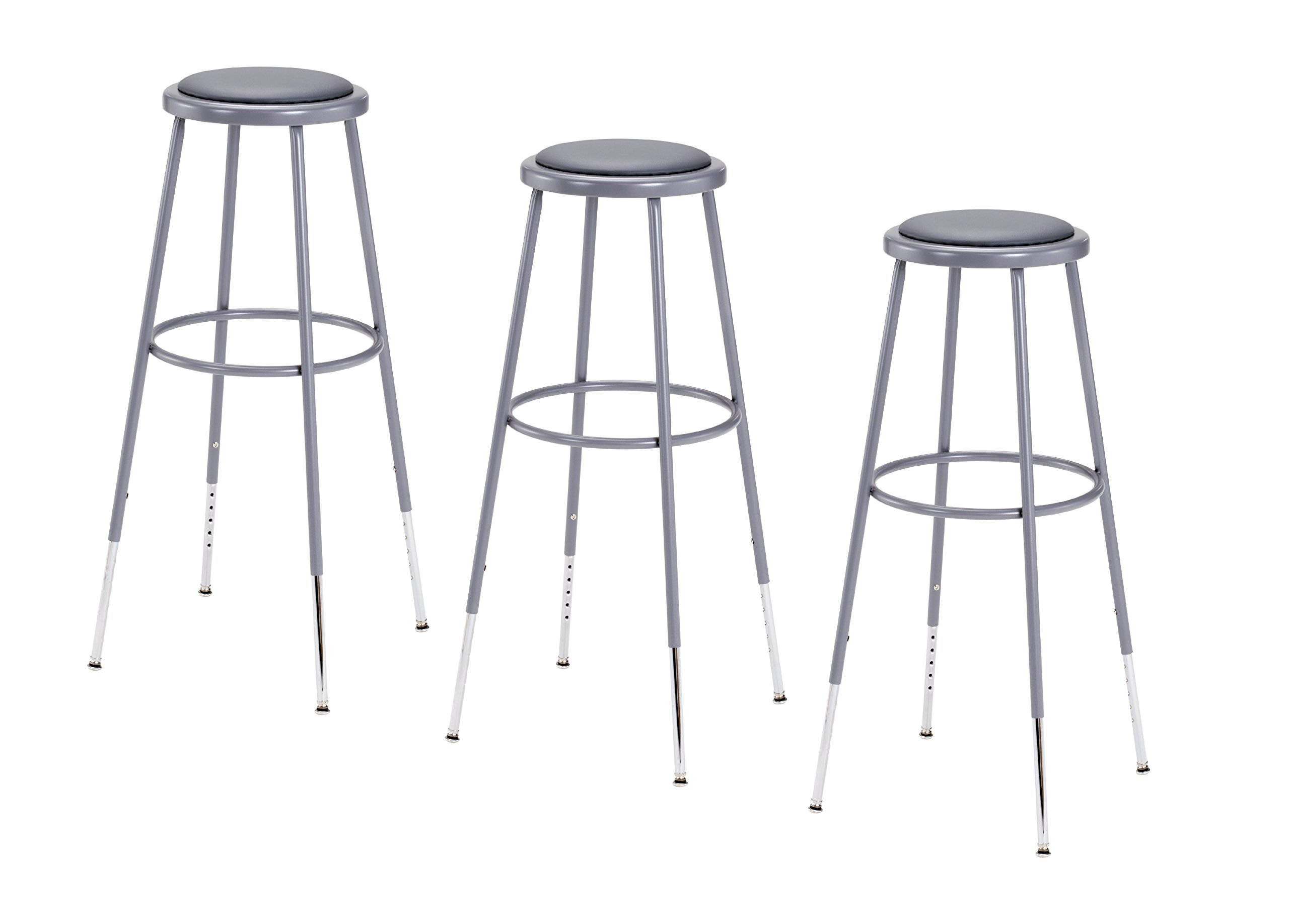 National Public Seating 6430H-CN Steel Stool with Vinyl Upholstered Seat Adjustable, 31''-39'', Grey (Pack of 3) by National Public Seating