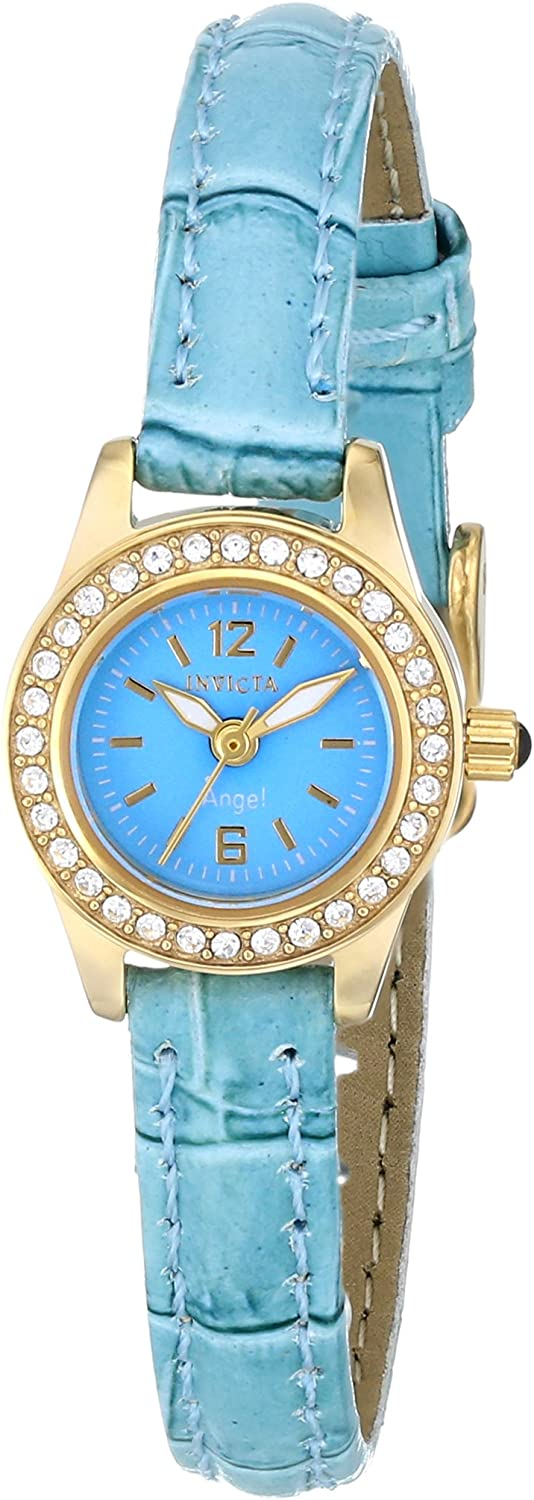 Invicta Women s 14689 Yellow gold Angel Blue Dial Crystal Accented Light Blue Leather Watch