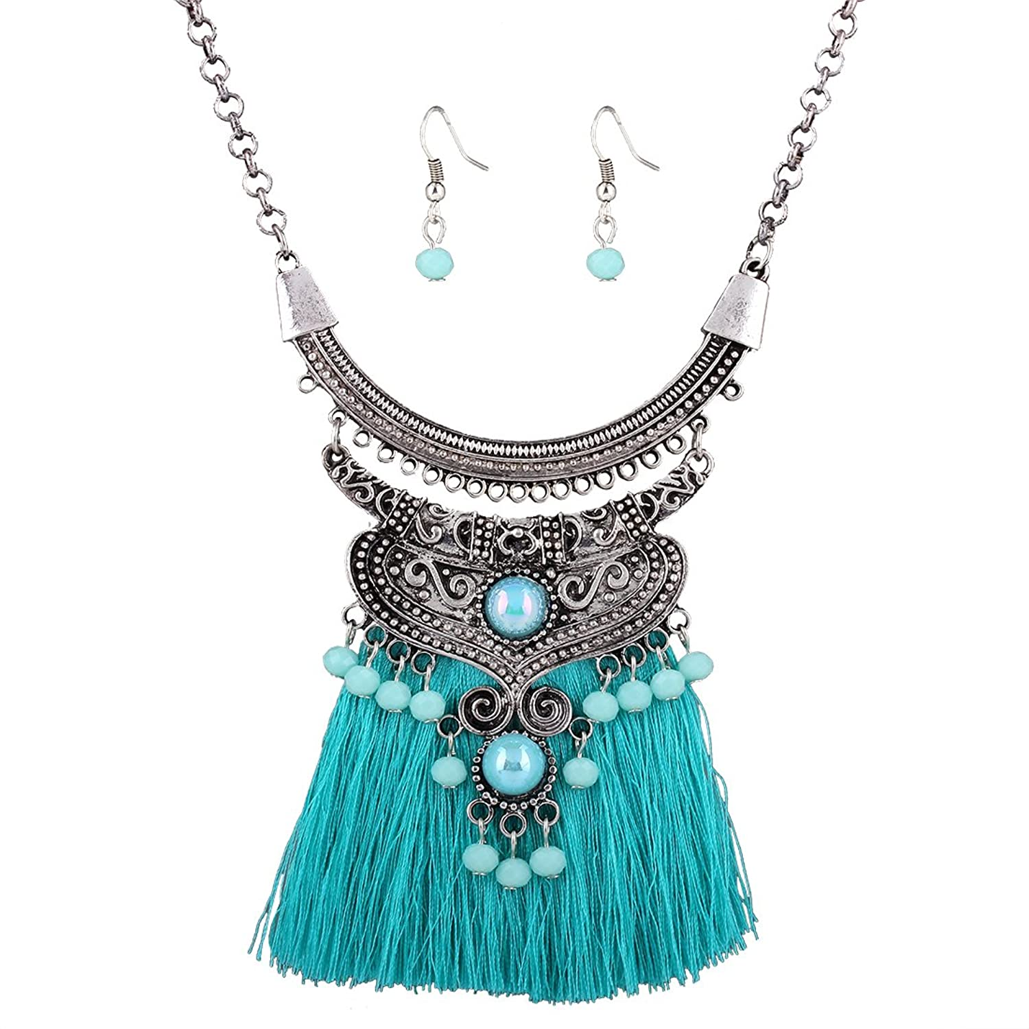 Gprince Retro Style Bohemia Style Tassels Weave Accessories Earring Necklace Fashion Jewelry Set Royal
